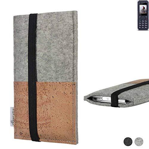 flat.design Handy Hülle Sintra für bea-fon AL250 Handytasche Filz Tasche Schutz Kartenfach Case Kork