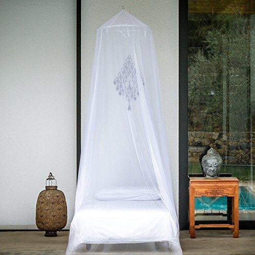 EVEN Naturals MOSKITONETZ für Bett, Mückennetz Bett, Baldachin Bett, Rundes Camping Netz, Betthimmel Vorhang, Insektenschutz mit Einer Öffnung, Einfache Anbringung & Tragetasche