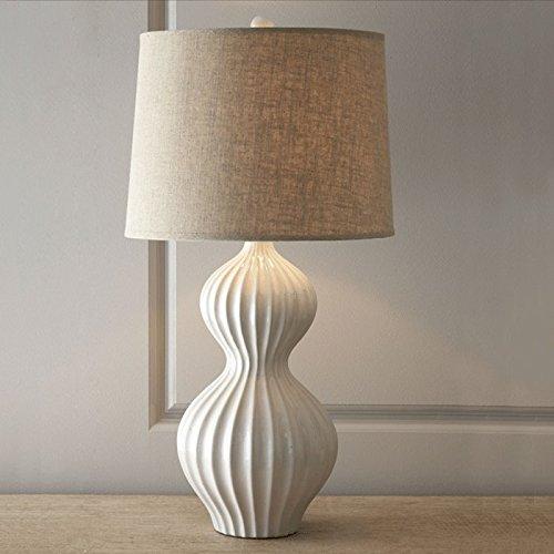 PinWei_ Country americano creativo moda retrò Tessuto Porcellana zucca tavolo lampada lampada da comodino camera da letto,Grande diametro 38CM 70