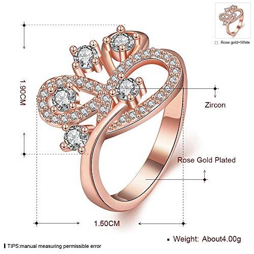 K Gold Zirkon Beliebte Persönlichkeit Kunst Geometrische Intarsien Weißen Zirkon Stein Ring , Roségold , 7 -