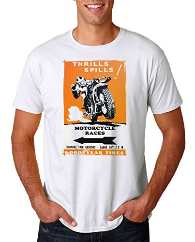 Thrills Spills Motorcycle Races - Retro Vintage Poster - Mens T Shirt