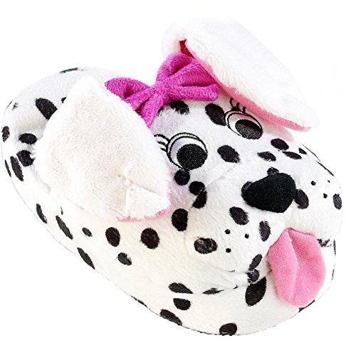 infactory Hausschuhe in Tierform: Hausschuhe Dalmatiner mit lebendigen Wackelohren, Gr. 29-31 (Kuschel-Pantoffeln)