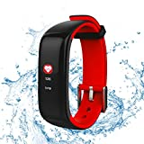 ROGUCI Wasserdicht 0.96 Zoll Groß Farbig OLED Bildschirm Tracking Fitnessarmband Uhr mit Herzrfrequenzmessung und Blutdruckmesser,Anruf / SMS Benachrichtigung Smartwatches von Stoppuhr und Wecker
