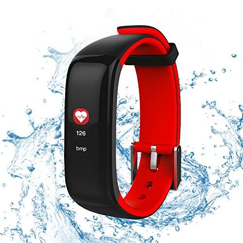 roguci resistente al agua 0.96pulgadas grande colores OLED pantalla Tracking Fitness Reloj de pulsera con corazón rfrequenz Medición y–Tensiómetro, llamada/SMS Notificación Smart Watches de cronómetro y despertador, rojo