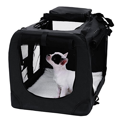 Songmics Faltbare  Oxford Gewebe Hundebox Katzenbox Hundetransportbox – L 70x52x52cm Schwarz PDC70H - 2