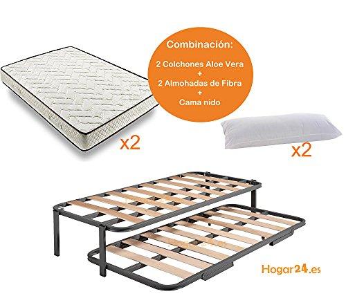 Hogar24.es-Cama Nido con 2 somieres estructura reforzada doble barra superior + patas + 2 colchones Aloe Vera + 2 almohadas de Fibra de Regalo-90x190cm