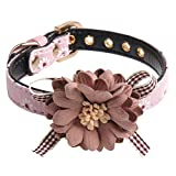 H-ONG Dog Collar Adjustable Pet Collar Dog Bowtie Collar PU Leather Collar with Flower Accessory for Dogs Puppy and Cats Neck 37cm-43cm (Pink-1.5 * 47cm)
