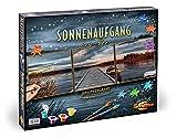 Noris Spiele Schipper 609470754 - Malen nach Zahlen - Sonnenaufgang am See, Triptychon 40 x 120 cm