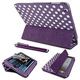 Digibuys Étui en similicuir avec support rotatif à 360° et fonction de mise en veille et de réveil automatique par aimant Conçu pour Apple iPad Air Livré avec un film protecteur d'écran et un stylet iPad 2/3/4_Tri-Fold  - Purple Polka