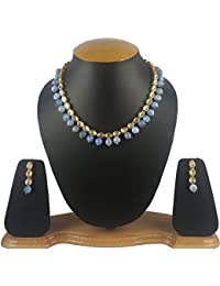 Aradhya Stylish Kundan Necklace Jewellery And Light Blue Onyx Stone Beads Necklace Set With Earrings For Women...