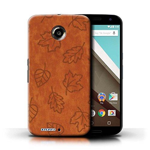 Kobalt® Imprimé Etui / Coque pour Motorola Nexus 6 / Orange conception / Série Motif Feuille/Effet Textile Orange