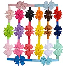 20 pz Fasce Elastico Cerchietti con Fiocco per Capelli Bambine Headwear Multicolori