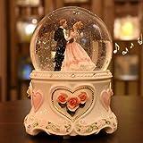 Fytoo Glaskugel aus Keramik, Spieluhr mit Eines Ehepaar, Hochzeit Spieldose Musikbox für Jubiläum, Gedenktag; Eine der Besten Möglichkeiten für Ihre Frau Jubiläumsgeschenk (Pink)