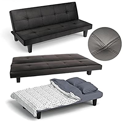 Click Clack Sofa Bed Black Faux Leather Guest or Spare Room Bed Settee