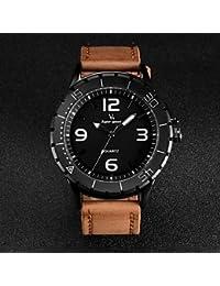 Relojes Hermosos, Correa de cuero de diseño de moda de cuarzo de los hombres del reloj V6 informal ( Color : Color Caqui )