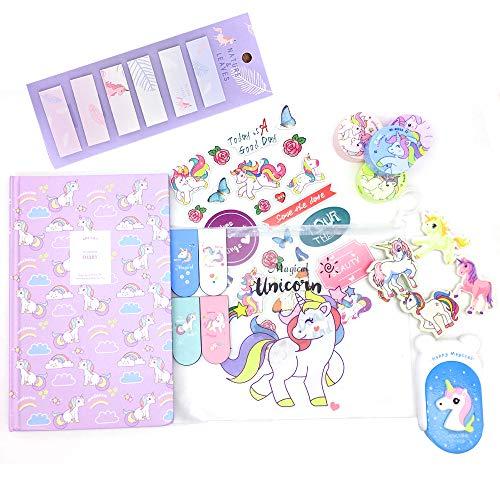 Juego de papelería de unicornio de lujo - Libreta de unicornio, sacapuntas de lápices, borrador, notas adhesivas, marcapáginas estuche de arte
