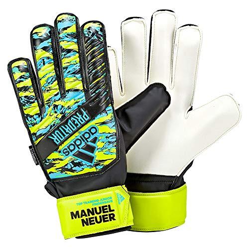 adidas Kinder Predator Manuel Neuer Top Training Fingersave Junior Torwarthandschuhe, solar Yellow/Bright Cyan/Black, 5
