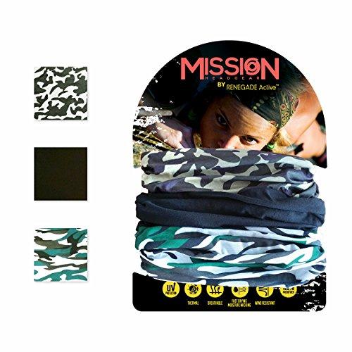 FASCIA MULTIUSO elastica 12in1 di Renegade Active: scaldacollo, passamontagna, foulard, bandana, sciarpa, cappellino, fascia per capelli - per donne e uomini - set di 3 fasce - vasta gamma di colori