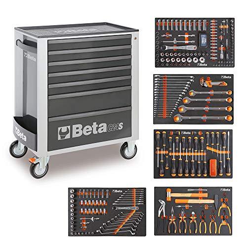 Beta Easy C24S - Carro de herramientas con 7 cajones y 295 herramientas, Gris