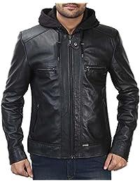 Bareskin men's black leather slim-fit moto jacket with detachable hoodie
