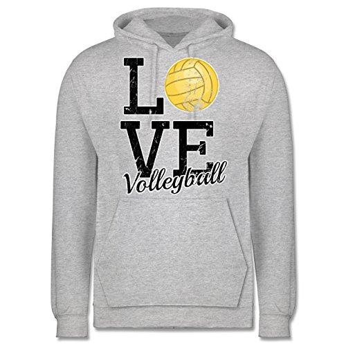 Volleyball - Love Volleyball - Männer Premium Kapuzenpullover / Hoodie Grau Meliert
