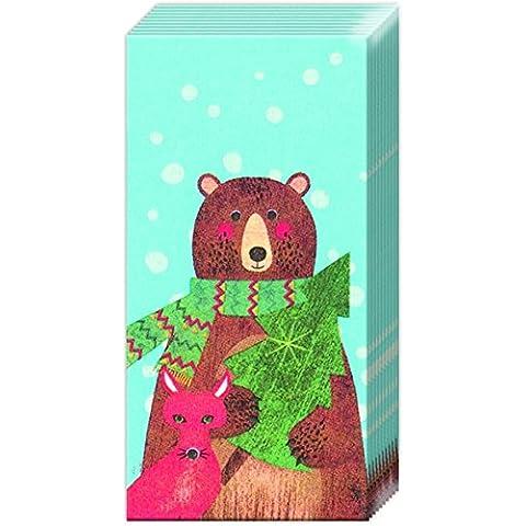 Phayaoshop-2 confezioni di IHR natalizio e tascabile, tessuti, per le vacanze, motivo: bosco, colore azzurro
