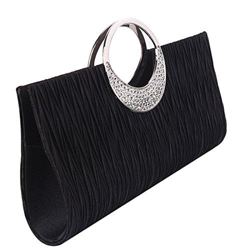 Elegante Damentasche Clutch Abendtasche Handtasche Hochzeit Party Tasche (Schwarz)