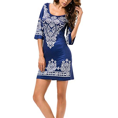 Freizeitkleid Damen Sommerkleid Gedruckt Knielang Kurzarm Rundkragen Strandkleid Schlank A-Linien Sommerkleid Ethno-Style Blau