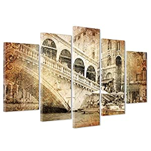 QUADRO SU TELA CANVAS - INTELAIATO - PRONTO DA APPENDERE - Ponte Rialto - Venezia - 170x86cm (cod.3455)