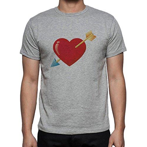 Valentines Day Heart Strip Yes Herren T-Shirt Grau
