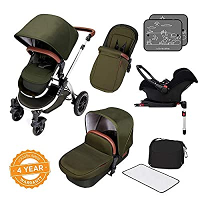 Ickle Bubba Stroller, Baby Travel System | Bundle incl Rear and Forward-Facing Pushchair, Car Seat, ISOFIX Base, Carrycot, Footmuff and Raincover | Stomp V4 Special Edition, Woodland Chrome