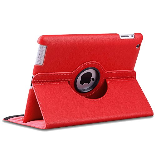 ebestStar - iPad 4 Hülle [Retina, iPad 3, iPad 2: 241.2 x 185.7 x 9.4mm, 9.7''] Rotierend Schutzhülle Etui, Schutz Hülle Ständer Rotating Case Cover Stand, Rot
