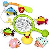 HERSITY 8 Stück Badespielzeug Bad Angeln Spielzeug mit Angelrute und Fischernetz Wasserspielzeug Geschenkset für Kinder