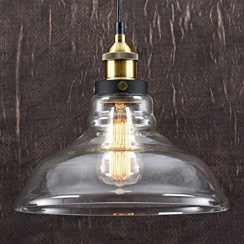 LOMT™ Vintage Deckenlampe Pendelleuchte Birnenform: Moderne Deckenleuchte im Retro Industrial Stil, aus Glas / Metall, Neue Edition, CE-zertifiziert. Durchmesser 28 cm, Höhe 23 cm. (Glas-deckenleuchte Vintage)
