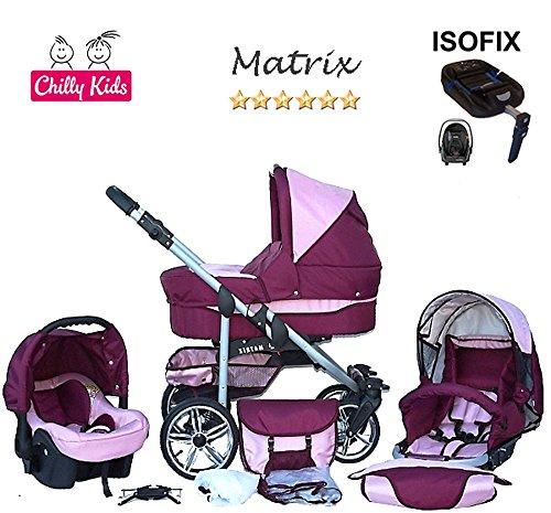 Chilly Kids Matrix II Kinderwagen Safety-Set (Autositz & ISOFIX Basis, Regenschutz, Moskitonetz, Schwenkräder) 10 Bordeaux & Rosa