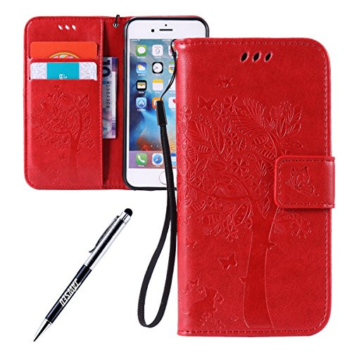iPhone 5S/5 Custodia in Pelle Portafoglio Cover Per iPhone SE Custodia, JAWSEU Lusso 3D Modello Puro Colore PU Leather Folio Case Cover per iPhone 5/5S/SE Custodia Cover con Super Sottile Morbido Sili Rosso