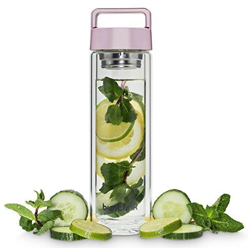 2goBottle Teeflasche aus Glas mit Sieb,Teebereiter to go, Trinkflasche mit Teesieb für Tee oder Wasser, Thermoflasche/Teekanne (doppelwandig) - Roségold (rosa)