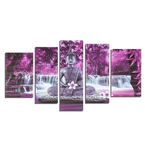 Inovey 5 X Buda Frameless Lienzo De Impresión Mural Cuadro Pared Imagen Casa Decoración - Púrpura