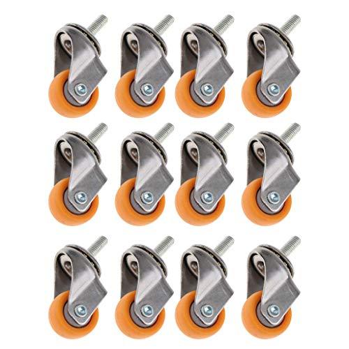 Willlly Lenkrollen M6 Mit Gewinde Gelbe Nylonräder 1 Zoll Für Chic Wohnmöbel Einkaufswagen Für Industriewagen 16 Stü 1 Zoll Sale Home Täglich Gebrauch Produkt (Color : Colour, Size : Size)