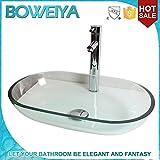 WEITING Trasparente lavabi in vetro rettangolo Arte / Contemporanea bagno in vetro temperato lavandino set (545 * 345 * H110mm)