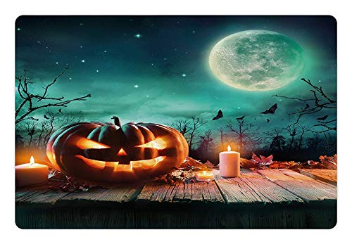ghfghgfghnf Halloween Pet Mat for Food and Water Fantastic Magic Night Spooky Atmosphere Candles Pumpkin on Wooden Planks Print Rectangle Non-Slip Rubber Mat for Dogs and Cats Multicolor 23.6 x 15.7 (Gehen Affen Glücklich-halloween)