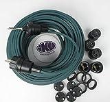 IKU ® GMBH Illu Lichterkette 25 M - 50 Fassungen Bausatz E 27 Montierter Stecker und Endstück Garten Party Lichterkette