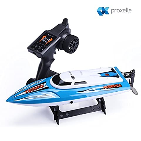 Proxelle High Speed RC Boat, Rechargeable 2.4GHz Remote Control Boats for Adults, Remote Control Boat for Pool, Sea and Ponds, With Water Cooling
