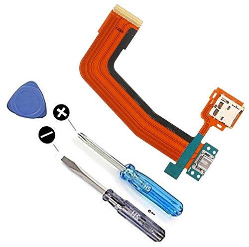 Dock Connector Ladebuchse Lade Port Mikro USB und SD Karten Halter für Samsung Galaxy TabS 10.5 inch SM-T800 T801 T805 T807 inkl Flexkabel Mikrofon und Home Button Anschluss vorinstalliert inkl. 2 x Schraubenzieher und Plectrum für einfachen Einbau MMOBIEL