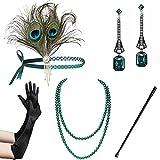 BABEYOND Set Accessori Anni 20 Flapper Fascia Gatsby Collana Perle Guanti Lunghi Porta Sigaretta di Stile Anni 20 per Prom Ballo Feste a Tema Vintage (Set 25)