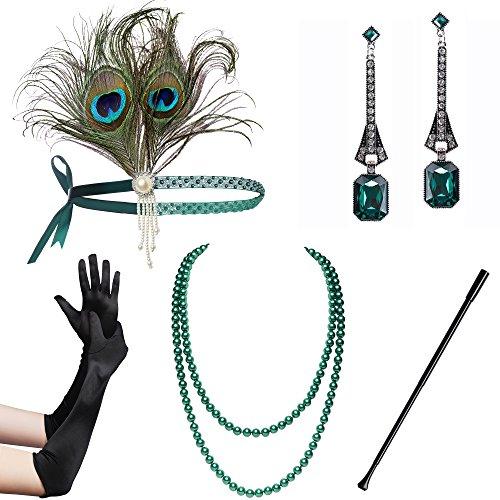 BABEYOND 1920s Flapper Set Damen Gatsby Kostüm Accessoires Set Inklusive Stirnband Halskette Handschuhe Zigarettenhalter (Set-25) (20er Mädchen Kostüm)