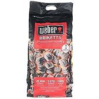 Weber 17591 - Briquetas de carbón vegetal para barbacoa, 8 kg, 1 Unidad