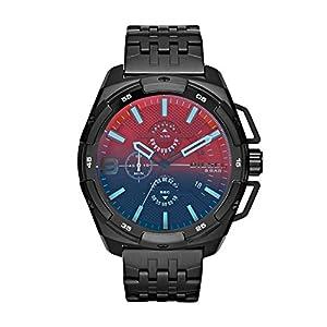Diesel Heavyweight - Reloj análogico de cuarzo con correa de acero inoxidable para hombre, color multicolor/negro de Diesel