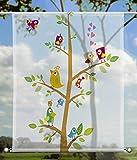 Scheibenhänger Birds Kinderzimmer transparent rechteckig mit Beschwerung , toller Scheibenhänger aus feiner Voile, verschiedenen Größen (HxB 75x60cm)