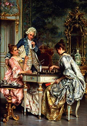 Kunstdruck/Poster: Arturo Ricci Beim Schachspiel im Rokoko - Hochwertiger Druck, Bild, Kunstposter,...
